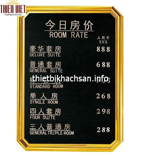 Bảng giá buồng phòng - room rate boad TV25
